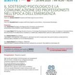 """Webinar Gratuito """"Il sostegno psicologico e la comunicazione dei professionisti nell'epoca dell'emergenza"""" 28 aprile 2020"""