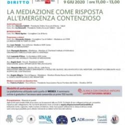 """Webinar gratuito """"La mediazione come risposta all'emergenza contenzioso"""" 9 giugno 2020 ore 11.00"""